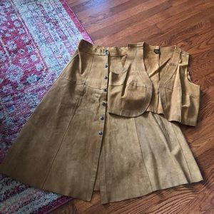 Vintage tan brown suede leather skirt and cropped vest set
